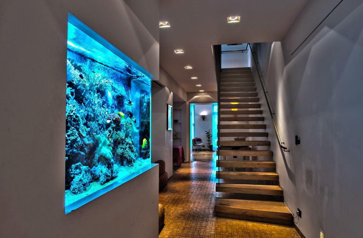 Pecera en la pared construcci n acuario de casa acuario y peceras Peceras de diseno