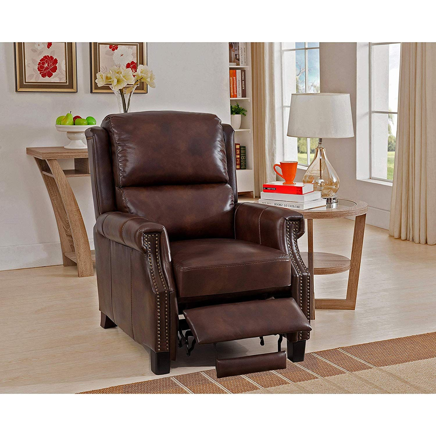 Sofaweb Com Rivington Brown Premium Top Grain Leather Recliner Chair Cheap Dining Room Chairs Leather Dining Room Chairs Modern Recliner Chairs #reclining #chair #living #room