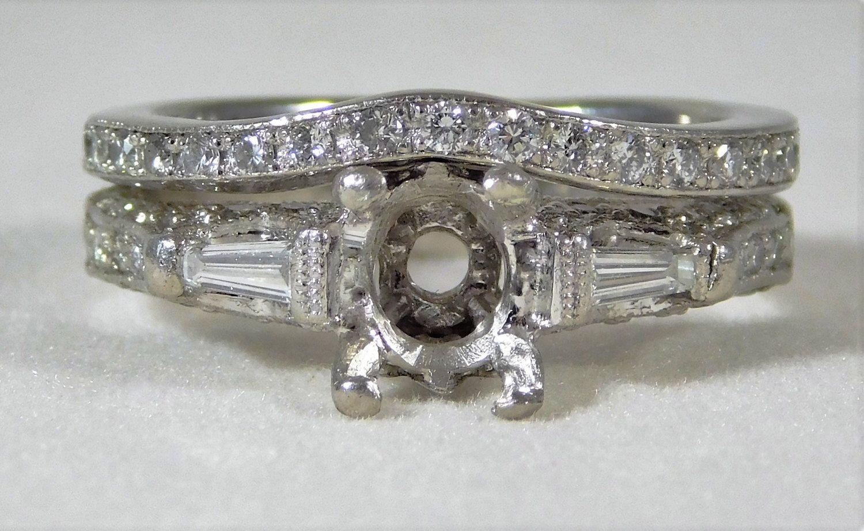 """Vintage Designed """"Edwardian Style"""" Platinum Engagement"""