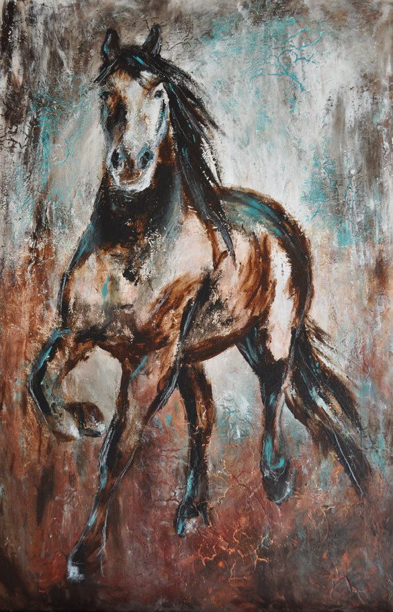 Paper Print Contemporary Western Horse Art in turquoise