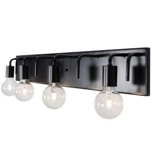 Photo of Varaluz Socket-To-Me 4-Light Black Vanity Light-219B04BL – The Home Depot