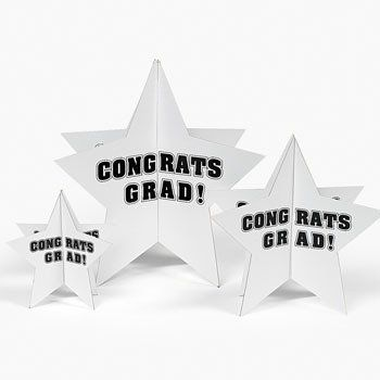 """WHITE CONGRATS GRAD STARS CENTERPIECE (3 PIECES) by Fun Express. $14.99. Cardboard White """"Congrats Grad!"""" Stars Centerpiece. Assorted sizes. Includes 2-pc. 12"""", 8"""" and 6"""" stars. Simple assembly required."""