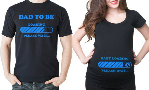 4fcdc005f015a Pregnancy T-Shirt Couple Maternity Shirt Baby Announcement Baby Loading  Funny Couple Pregnancy T-shirts