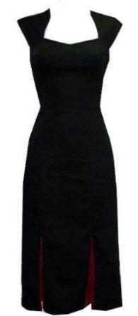 Ladies 40s 50s Vintage Style Black Pleat Classic Wiggle Pencil Dita Dress: Amazon.co.uk: Clothing