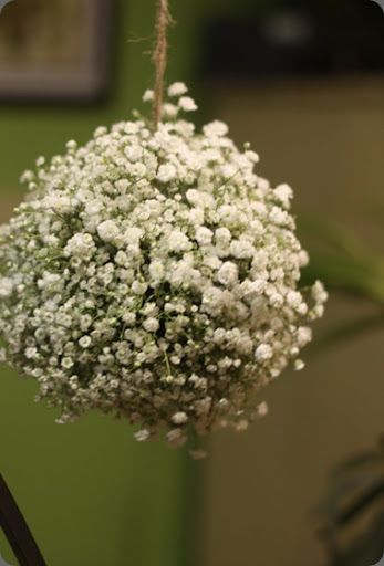 baby's breath ball....use in different sizes with a floral wreath and hanging crystals to create chandeliers