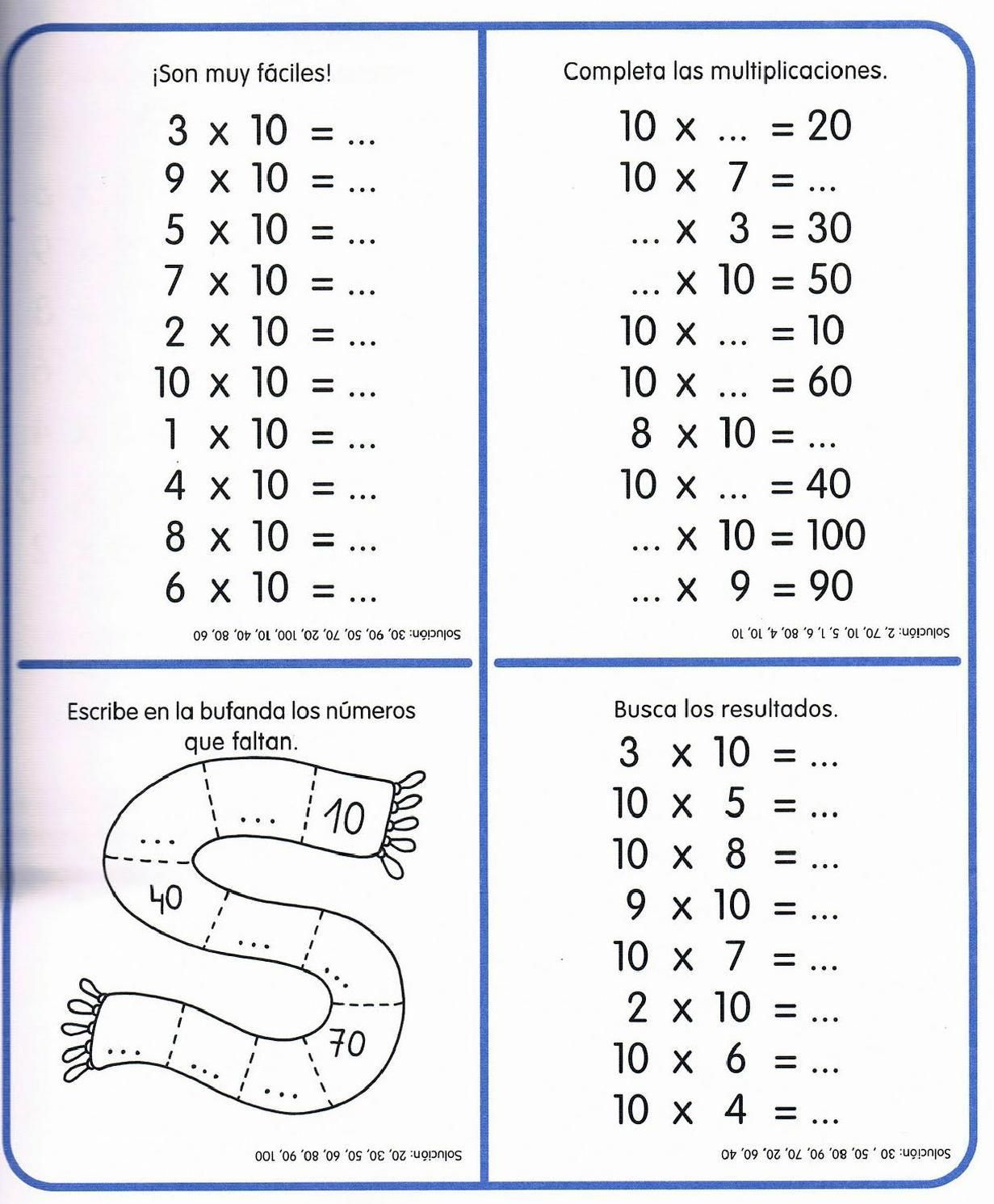 Tablas De Multiplicar Hasta El 100
