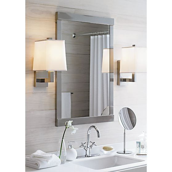 Architectural Mirror Hangs On The Wall With Modern Attitude In A Sleek Frame Of Cool Brushed Stainless Steel