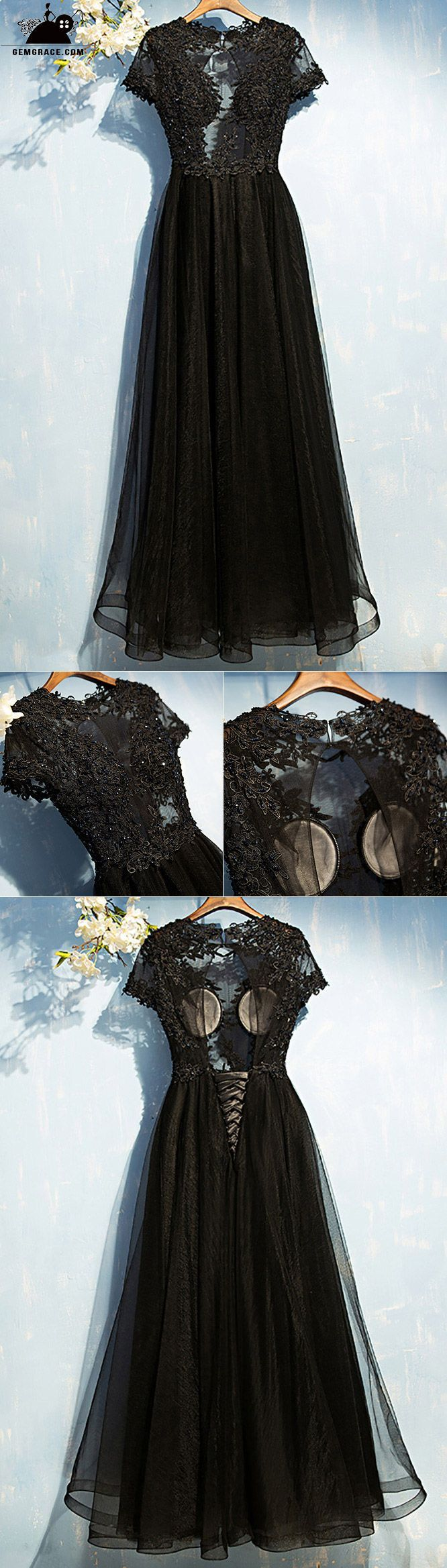 Sexy long black lace prom dress with sleeves open back myx