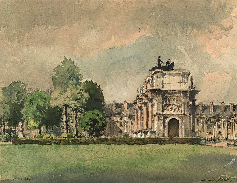 Alexandre Nikolayevich Benois (1870-1960)  Paris. Carroussel. 1927 Aquarelle sur papier. 23 x 30 cm collection privée