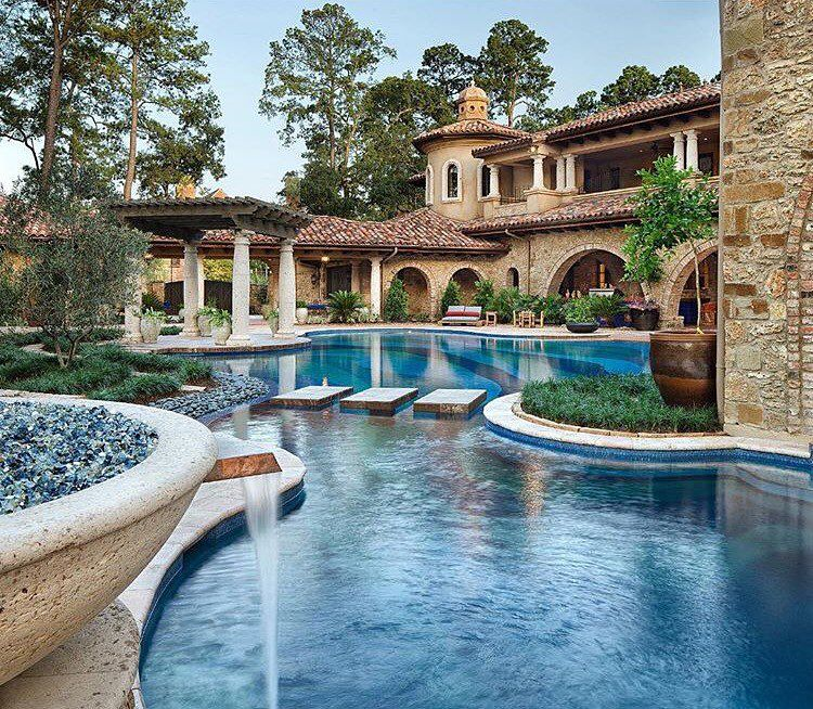 Luxury Mansions With Swimming Pools: Backyard Goals: Beautiful Mediterranean Italian Style