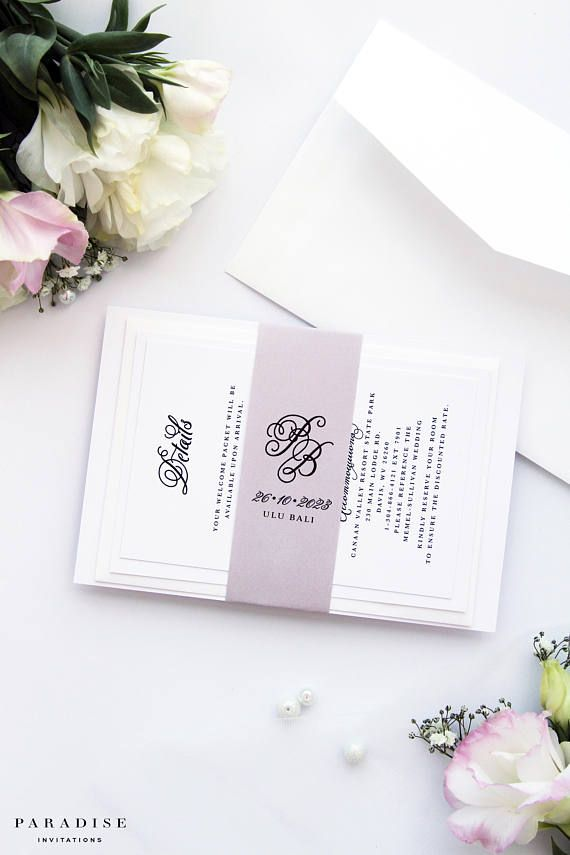 Joyce Dusty Shades of Purple Wedding Invitation Set Wedding ...