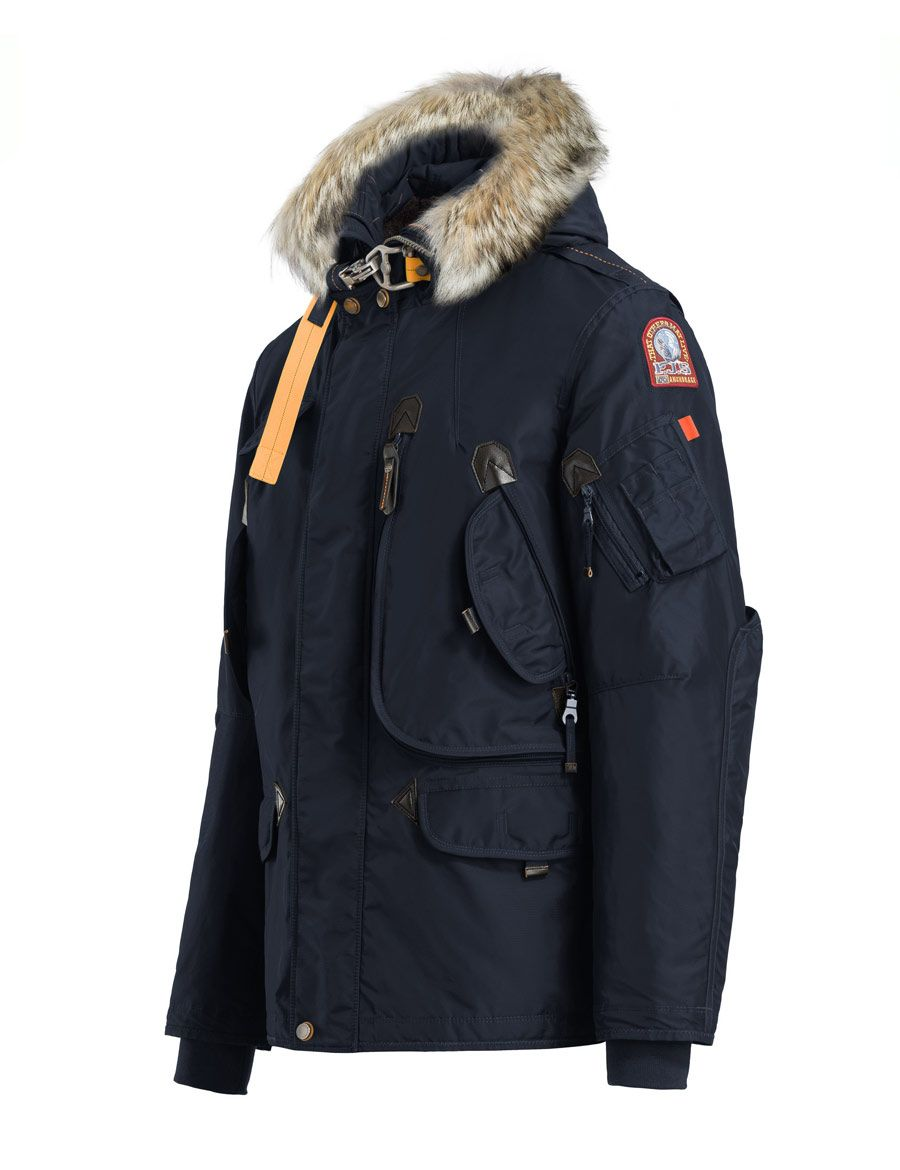 Parajumpers Right Hand navy jacket Nylon jacket with a detachable real fur trim around the hood and a removable down-filled lining. The shell…