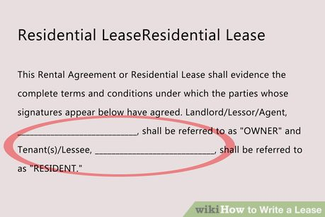 Write A Lease Lease Agreement Rental Agreement Templates