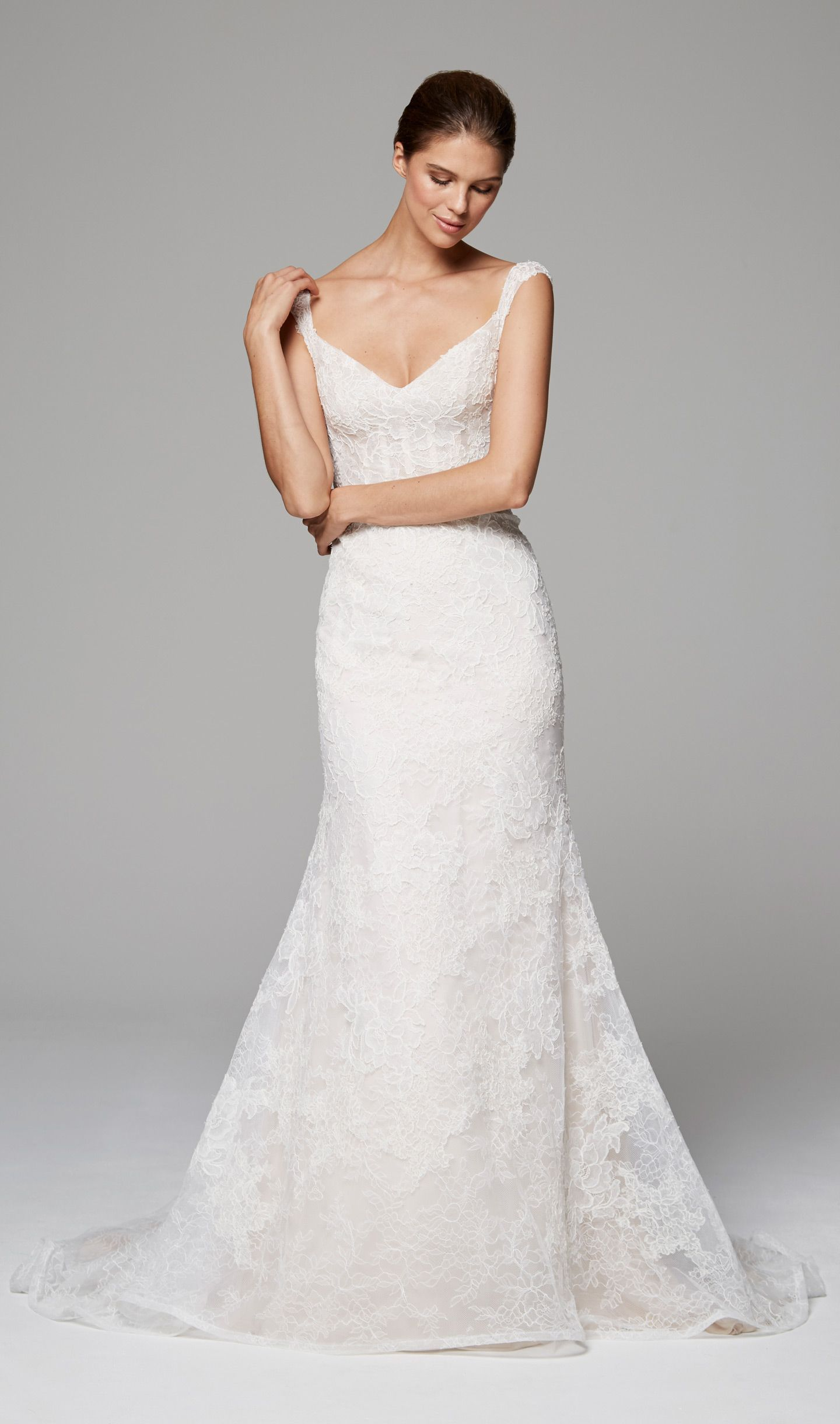 6ab35bb4d644 ZARA - Anne Barge Fall 2018 | Corseted bodice wedding dress with petite cap  sleeves and a collage of Chantilly and Alencon laces.
