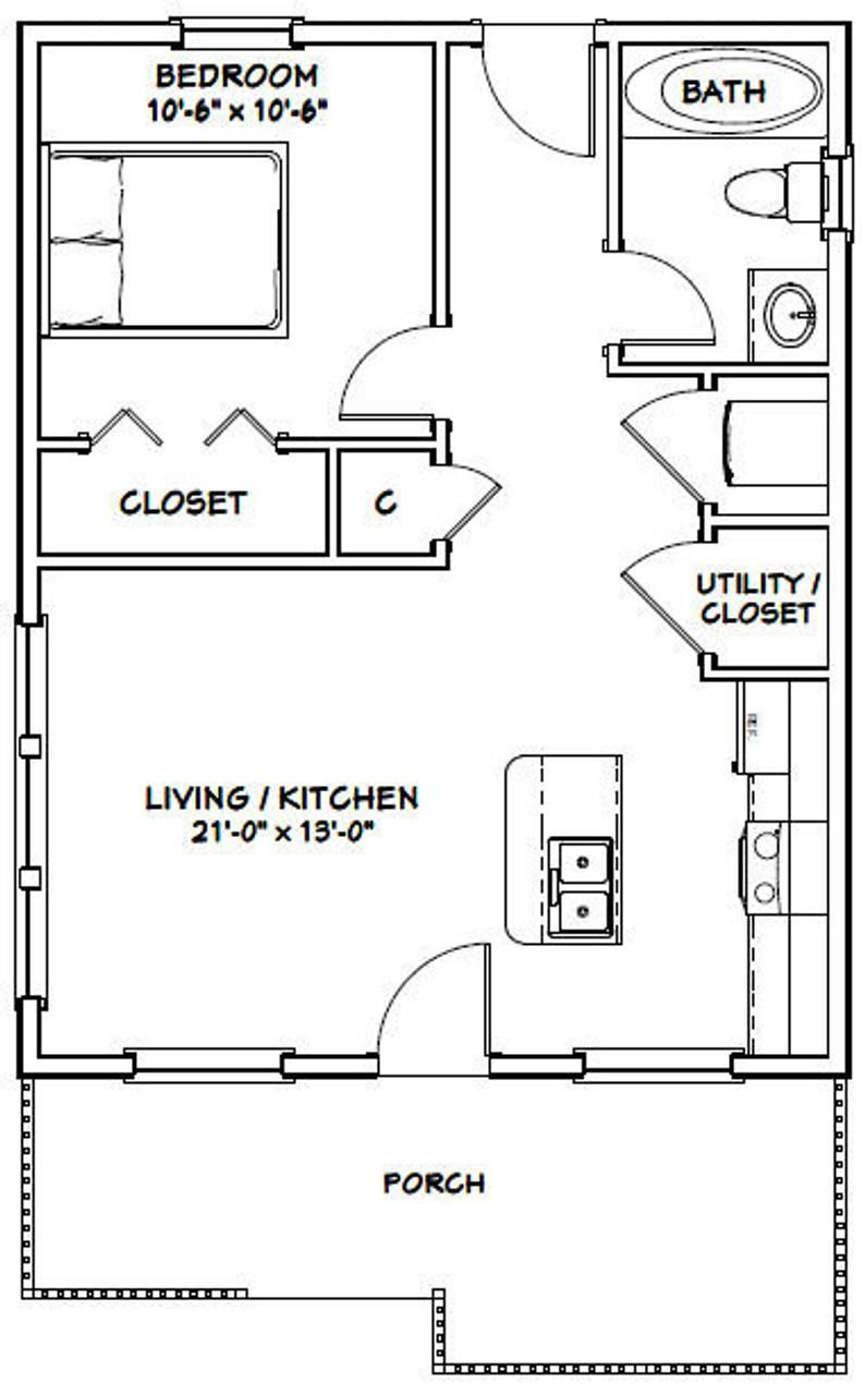 22x28 House 1 Bedroom 1 Bath 616 Sq Ft Pdf Floor Plan Instant Download Model 1b Small House Floor Plans Tiny House Floor Plans Small House Plans