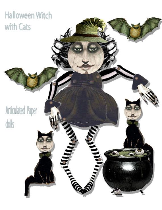 Halloween printable paper doll whimsical Witch doll articulated