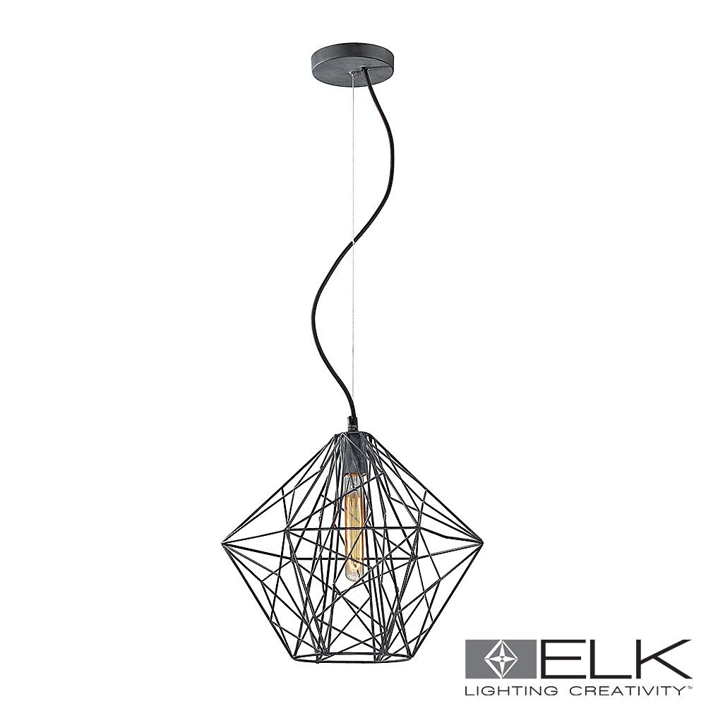 14273 1 Elk Lighting Geoweb Pendant Light In Urban Concrete