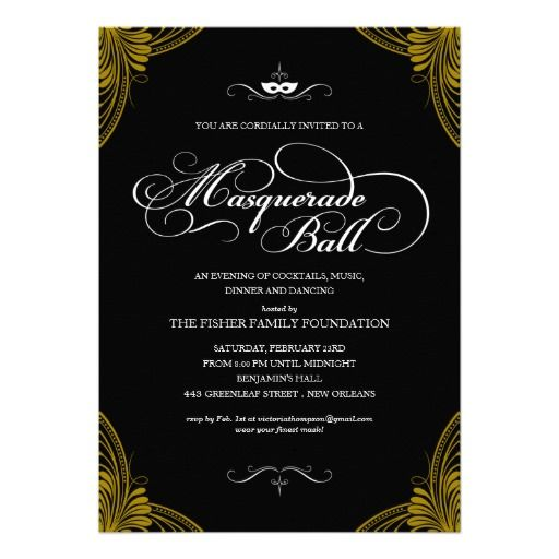 Formal Masquerade Ball Invitations Masquerade ball Masquerades