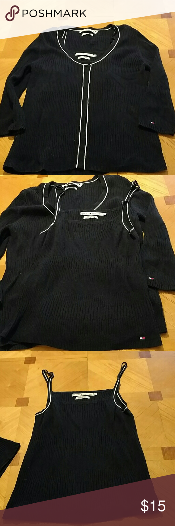 Tommy Hilfiger sweater and tank Tommy Hilfiger sweater and tank top. Very pretty. Excellent condition. Smoke free home. Womens size XL. Navy blue with white stripes. Tommy Hilfiger Tops