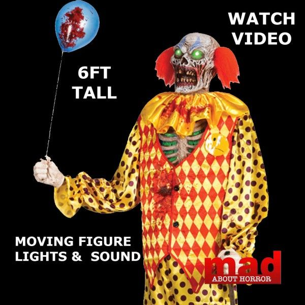 6ft Evil Psycho Zombie Clown Animated Prop