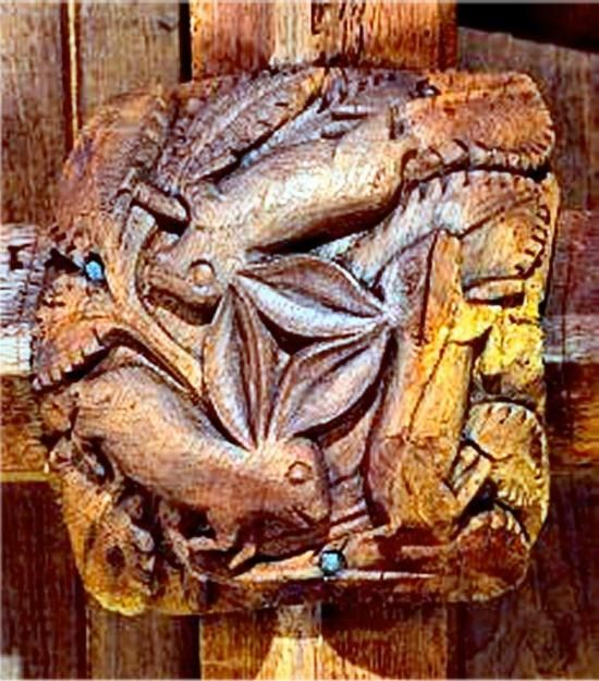 3 Hares Medieval roof boss, South Tawton, Devon