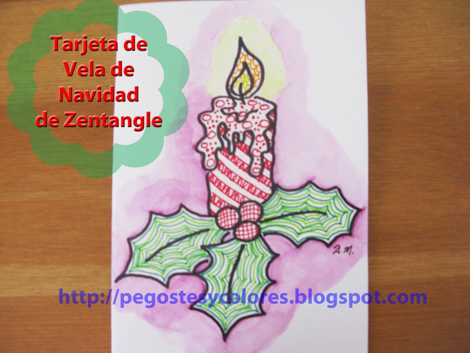 Pegostes y Colores: Tarjeta de Vela de Navidad de Zentangle ...