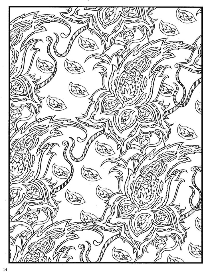 Paisley Design Coloring Pages Animals | Dover Paisley Designs ...