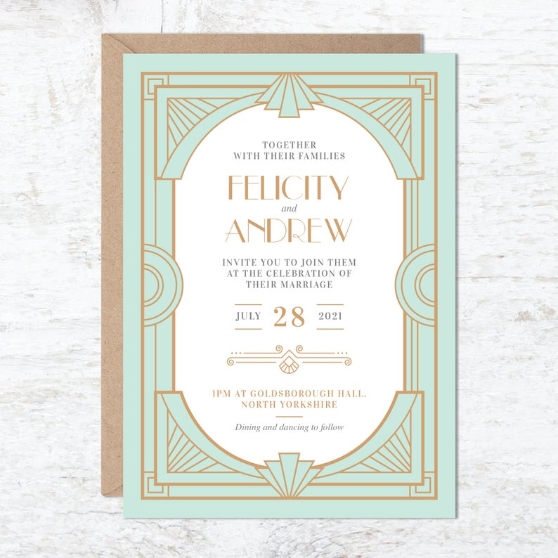 Art Deco Wedding Invitation Great Gatsby Party Invite Gatsby Etsy Art Deco Wedding Invitations Deco Wedding Invitations Vintage Wedding Invitations