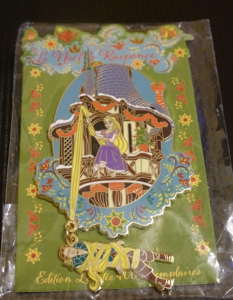 DLP Paris Disney Pin Trading Event Christmas of Rapunzel Tower LE 400 Jumbo NEW
