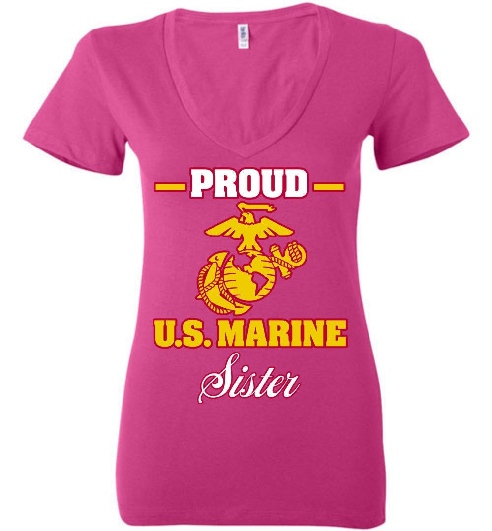 Proud U.S. Marine Sister Bella Ladies Deep V-Neck Tee
