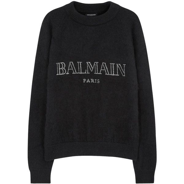 Balmain Black embellished angora blend jumper (£1,045) ❤ liked on Polyvore  featuring tops