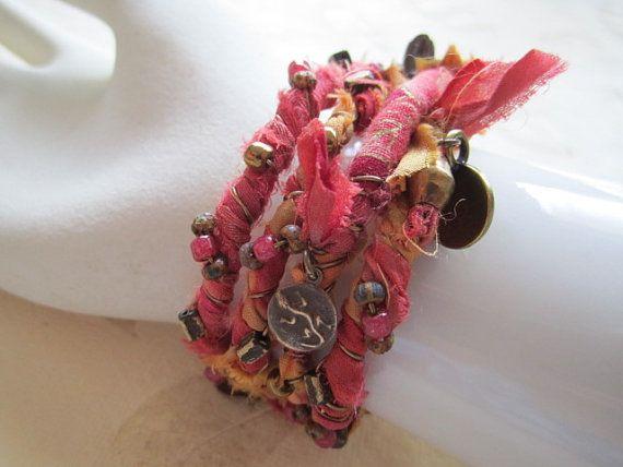 Sunset Orange Sari Ribbon Bracelet fabric ribbon by bohosoulsister
