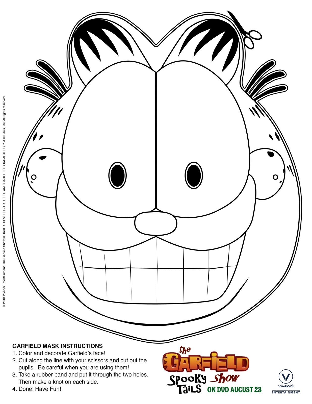 Free Printable: Print & Color Garfield Mask | Free printable ...