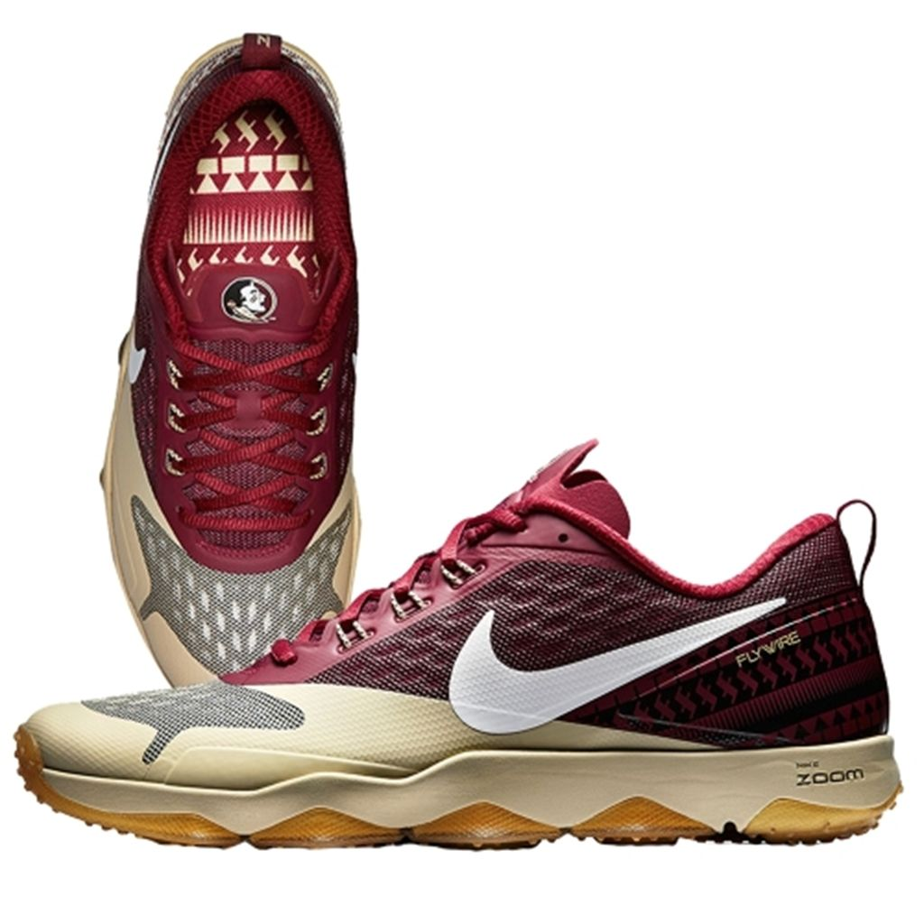 florida state university renegade and chief osceola on the field florida state seminoles nike 2015 college football playoff rose bowl hypercross air zoom trainer garnet