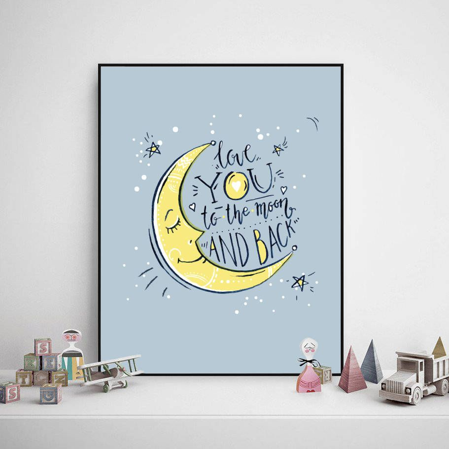 Children Poster   Love You To The Moon And Back, Kids Poster, Baby Room  Poster, Quote Kid Wall Art, Kid Room Decor, Printable Wall Art, Moon By  FancyZone On ...