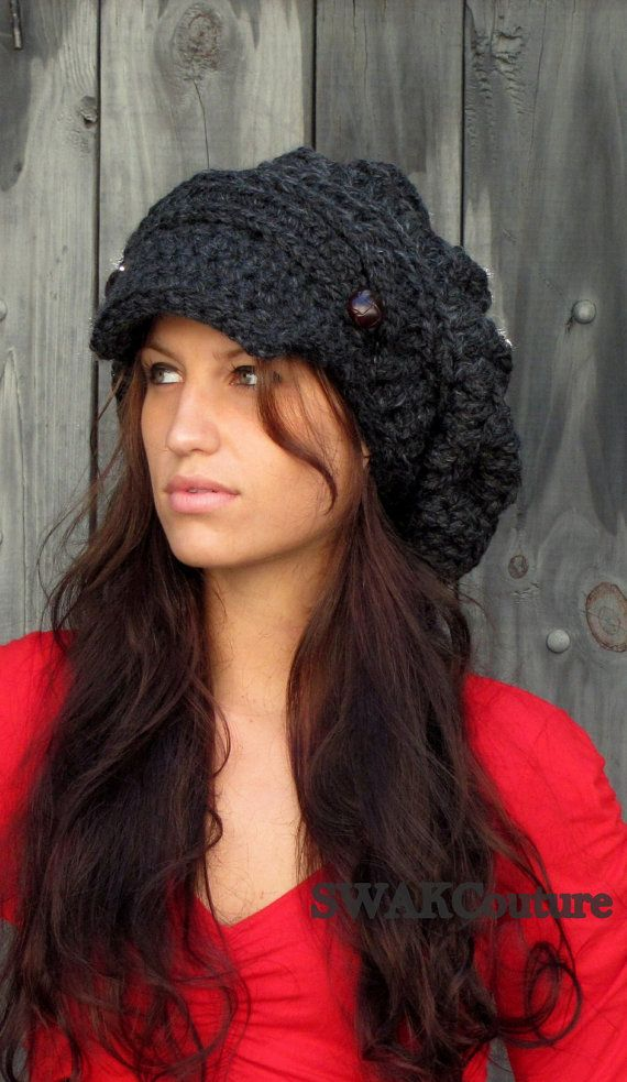 0b45803a Black Slouchy Cap Womens Newsboy Hat Satin Lined Chunky Beanie Brim Handmade  - Aliyah Cap, Black or CHOOSE Your Color | prt. 2 of pretty hair and nails  ...