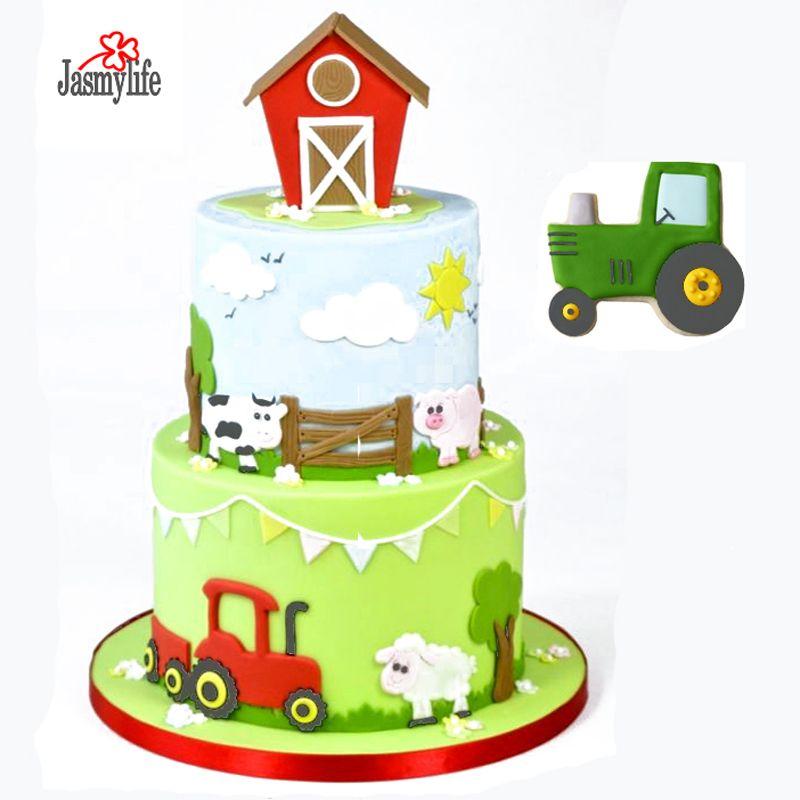 4PCS Tractor Cutter Set Plastic Cookie Cutter Biscuit Fondant