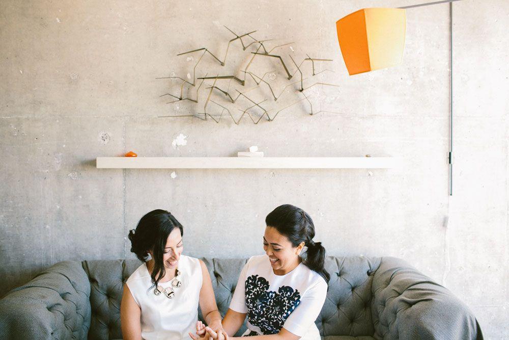 love happy jewelry white dresses heart modern first look furniture   Jen + Kat   Los Angeles Stylish Same Sex Wedding   Jenn Emerling Weddings