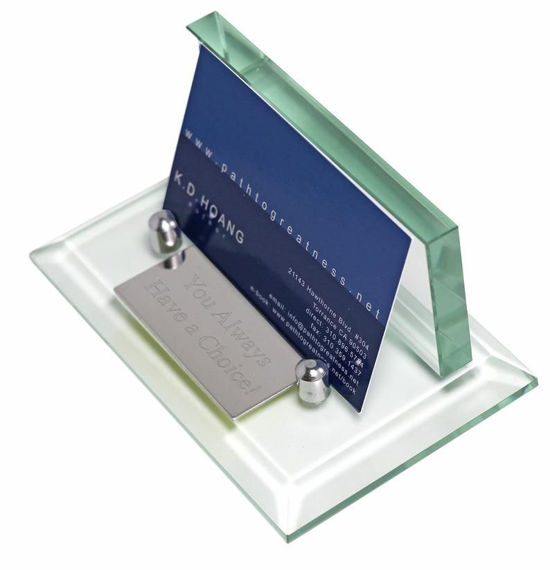 Professional Glass Business Card Holder With Name Plate Etsy Business Card Holders Desk Accessories Office Name Plate