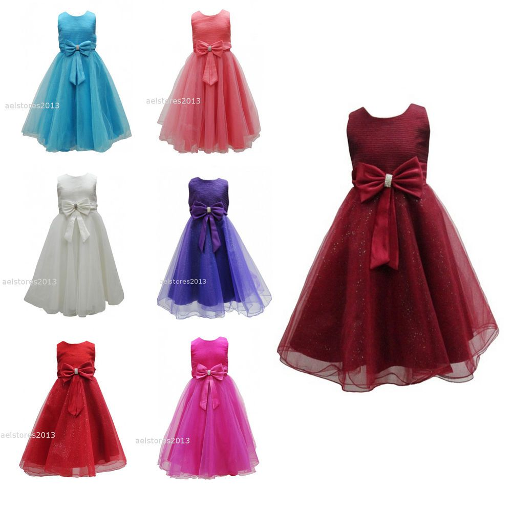 69f494b0e1f3 New Girls Formal Wedding Bridesmaid Party Size Dress Age 2 3 4 5 6 7 ...