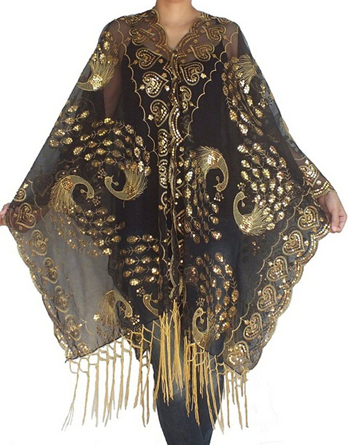 01794532617 1910s 1920s Peacock Phoenix Embroidery Sequins Wedding Scarf Shawls  19.99  AT Vintagedancer.com