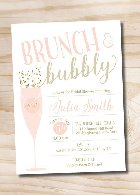 brunch and bubbly bridal shower invitation confetti glitter bridal shower invitation digital or printed