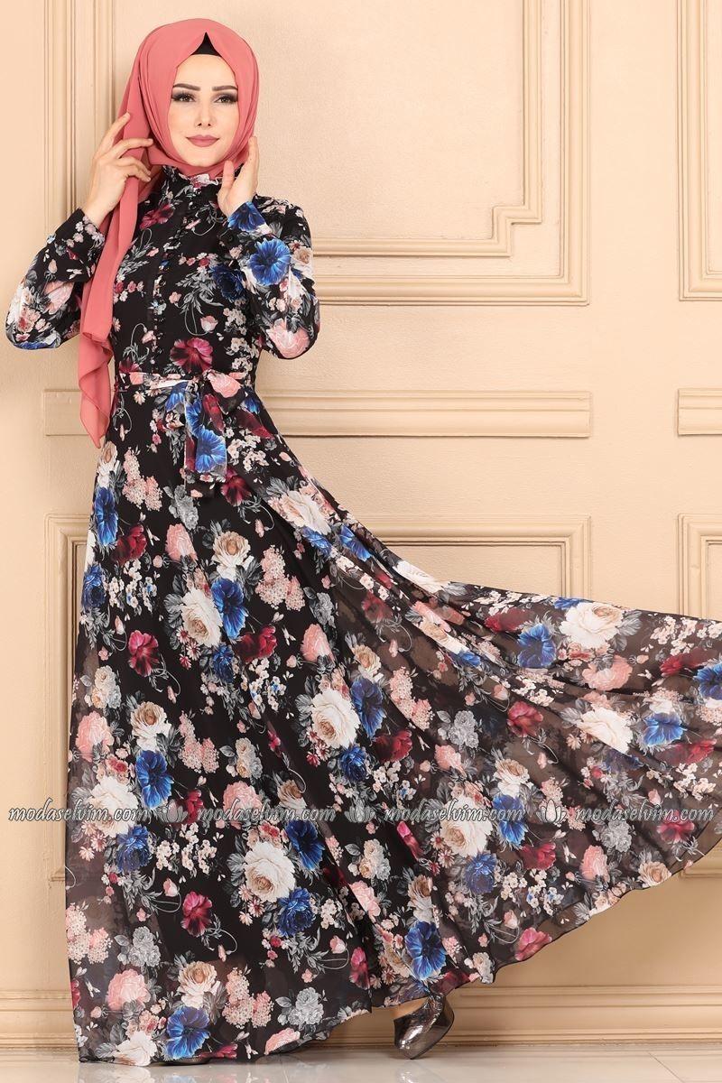 Desenli Sifon Elbise Ygs6211 Siyah Indigo Moda Selvim The Dress Musluman Elbisesi Sifon Elbise