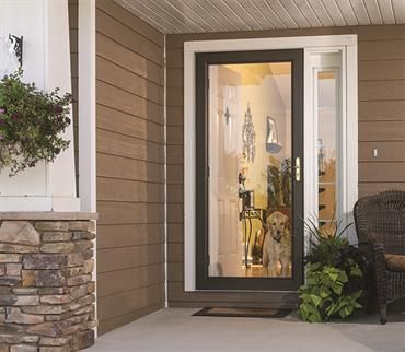 Give Your Pets A Window To The World With A Full View Storm Door From Larson Doors Full View Storm Door Full Glass Front Door Glass Storm Doors
