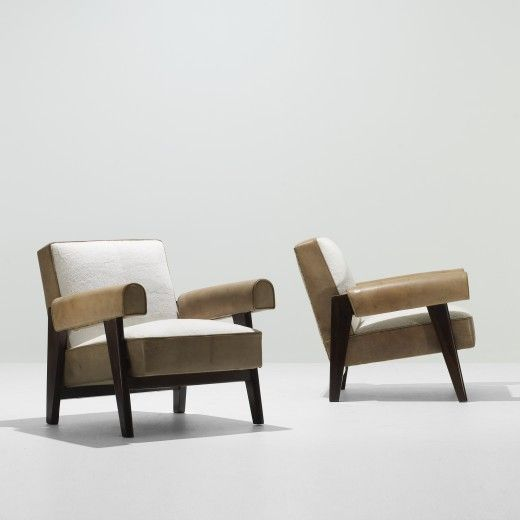 LE CORBUSIER AND PIERRE JEANNERET Pair Of Lounge Chairs From The High  Court, Chandigarh France/India, C. 1955 Teak, Sheepskin, Leather
