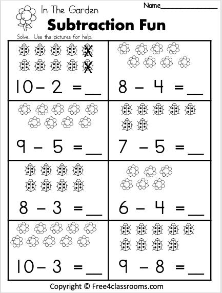 Free 1 Digit Subtraction Math Worksheet Free4classrooms In 2020 Kindergarten Math Worksheets Free Preschool Math Worksheets First Grade Math Worksheets