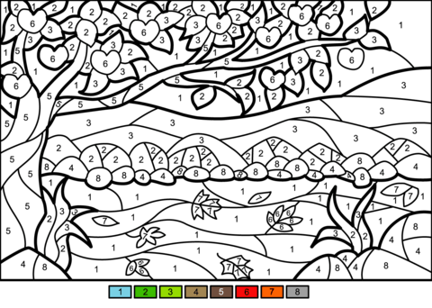Apple Tree Color By Number Coloring Page Fall Coloring Pages Coloring Pages Color By Number Printable