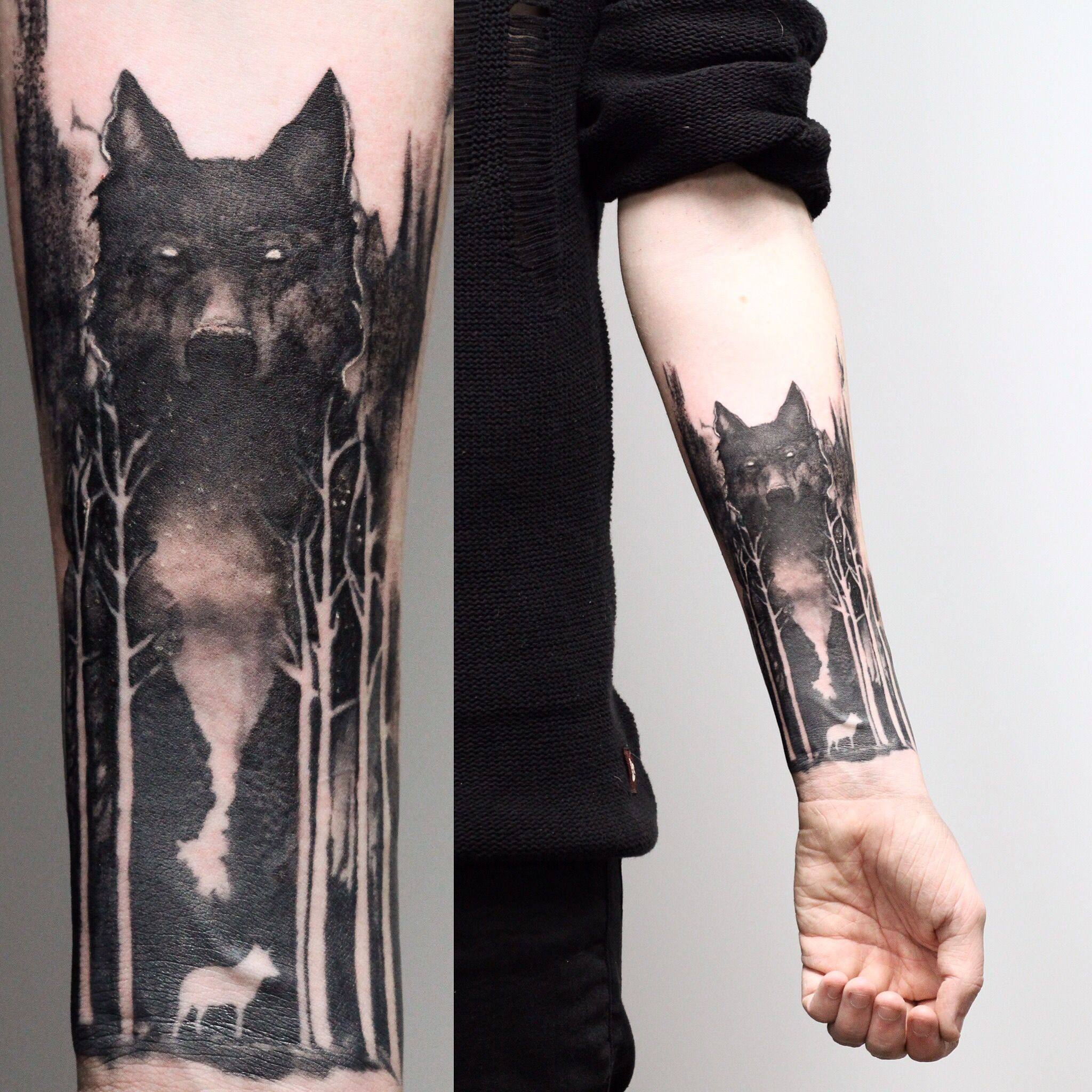Wolf And Forest On Aiden I Like The Wolf Style Forest Tattoos Tattoo Designs Men Tattoos
