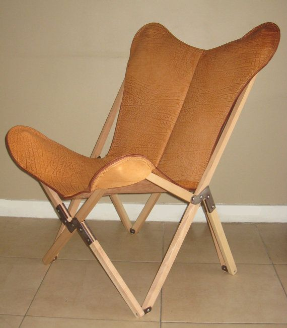 Tripo Butterfly Chair In Buffalo Leather And Wood Frame + Additional Cover  In Cowhide
