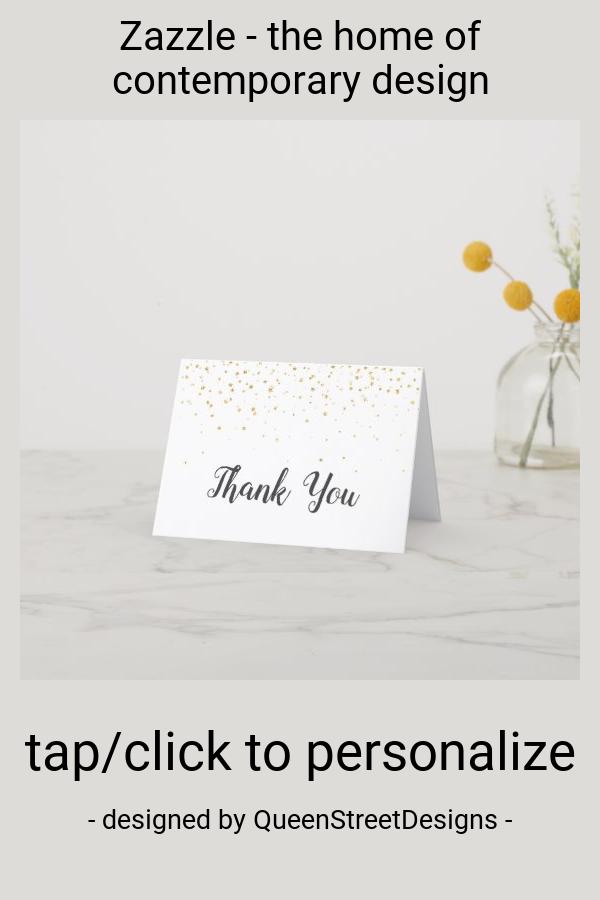 Photo of Gold Confetti Thank You Card | Zazzle.com